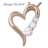 女士银项链纽约Crossfor 粉红色 心立方银配件