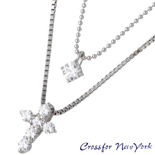 Crossfor 纽约螺柱 & 十字银十字架项链立方