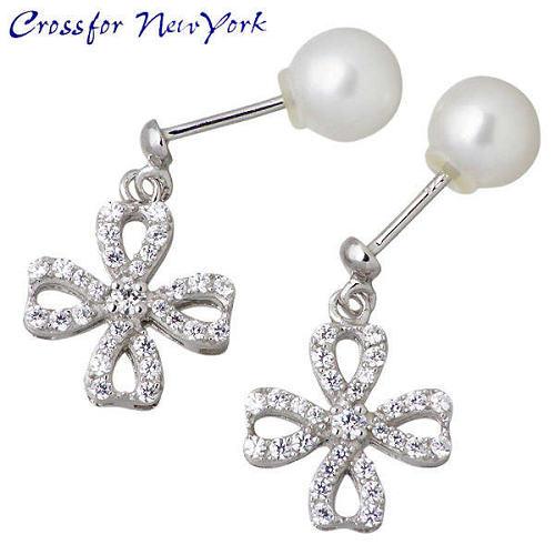 银耳环 Crossfor 纽约石立方淡水珍珠 一对
