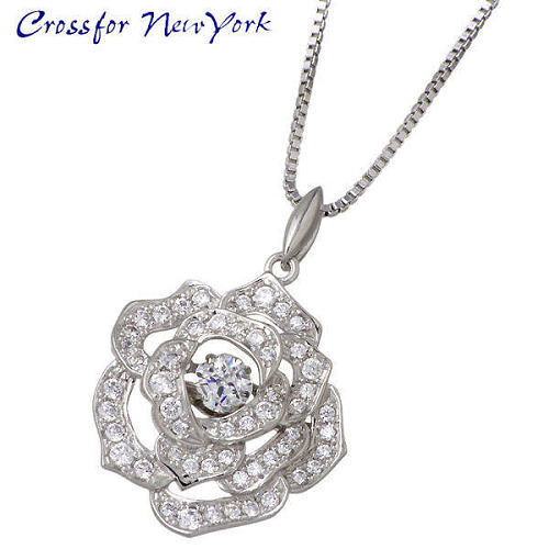Crossfor 纽约 银玫瑰花项链