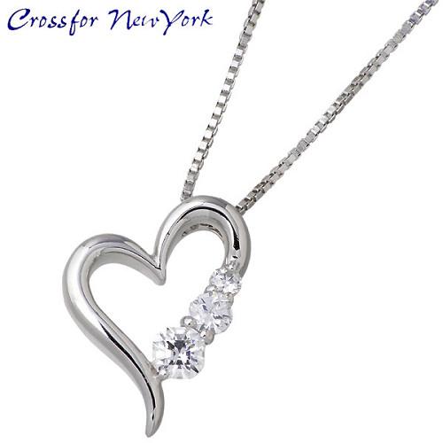 Crossfor 纽约 3stone 心 银项链