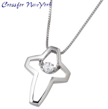 Cross2 Crossfor 纽约闪烁银十字架项链立方 /P23Jan16
