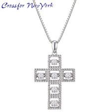 Crossfor 纽约闪烁 Cross1 银十字架项链立方 /P23Jan16