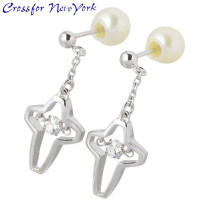 Crossfor 纽约闪烁十字 2 银耳环 珍珠
