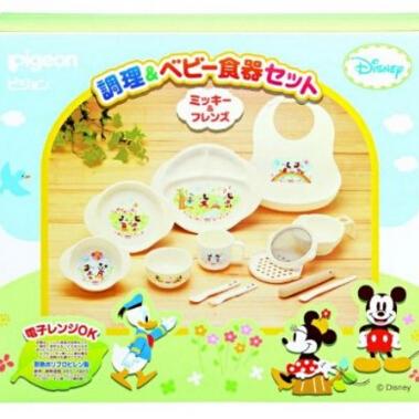 日本 贝亲(Pigeon)迪斯尼米奇 宝宝食器饭碗连烹饪餐具儿童套装M2
