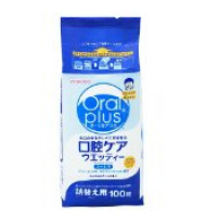 日本 和光堂 口腔护理 Oral plus口腔清洁预防口臭清爽薄荷湿巾 替换装 100片