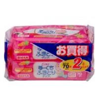 日本  贝亲  婴儿手口湿巾纸  70片X2 宝宝专用擦手口