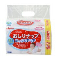 日本  贝亲 无香型含润肤乳液湿巾 宝宝湿巾 80枚*6