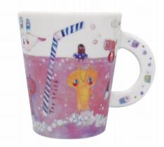 日本 Monseuil 创意马克杯 陶瓷 粉色汽水花纹 4522202201222