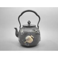 日本 南部铁器 蜡型铁壶  宝物布纹镶嵌