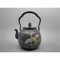 日本 南部铁器 蜡型铁壶  凤凰布纹镶嵌