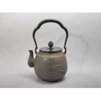 日本 南部铁器  蜡型铁壶  风神雷神