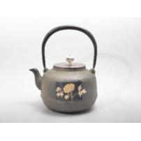 日本 南部铁器  镶嵌铁壶  牡丹